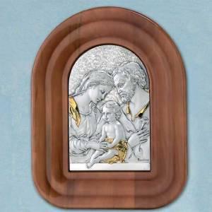 Bas reliefs en argent: Bas relief argent or Sainte Famille cadre en bois demi cercle