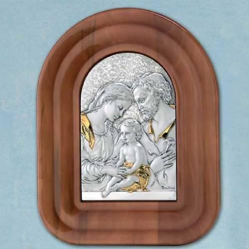 Bas relief argent or Sainte Famille cadre en bois demi cercle s1
