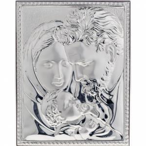 Bas reliefs en argent: Bas relief argent sainte famille, carré