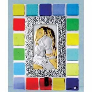 Bas reliefs en argent: Bas-relief argent Vierge de la Tendresse cadre en verre coloré