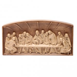Bas-relief, Last Supper in multi-patinated Valgardena wood s2