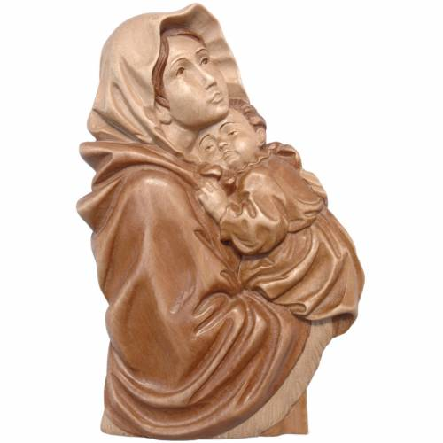 Bas-relief Madonna del Ferruzzi patiné multinuance Val Gardena s1