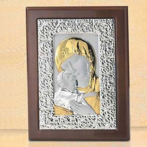Bas-relief Notre Dame de la Tendresse argent or s1