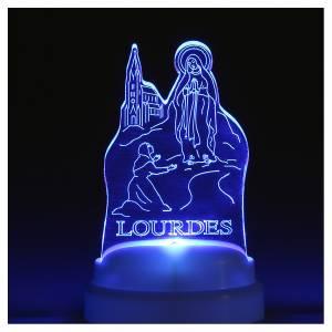 STOCK Basetta plexiglass immagine Apparizione Lourdes con luce s3