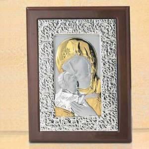 Silber Basreliefs: Basrelief von Madonna der Zärtlichkeit, Silber und Gold