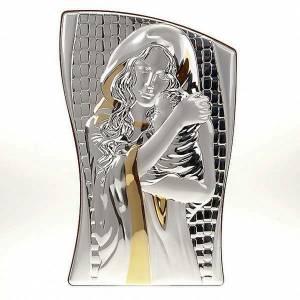 Bassorilievo bilaminato oro argento Madonna con bimbo irregolare s1