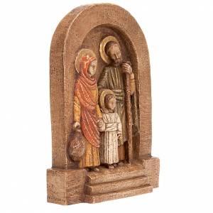 Bassorilievi pietra: Bassorilievo Sacra Famiglia pietra scura dipinto
