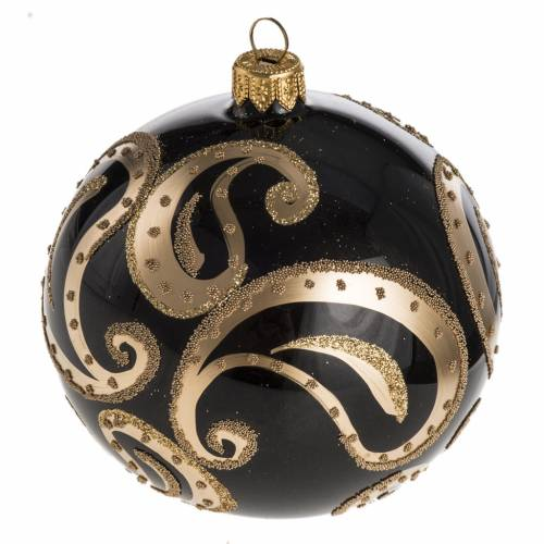 Bauble for Christmas tree, black and gold blown glass, 10cm s1