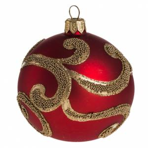 Bauble for Christmas tree in glass, red and gold 8cm s1