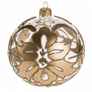 Bauble for Christmas tree, transparent and gold blown glass, 10c s1