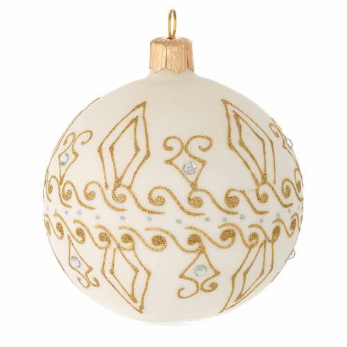 Bauble in beige blown glass with gold decorations 80mm s2