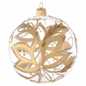 Christmas balls: Bauble in blown glass with gold flower 100mm