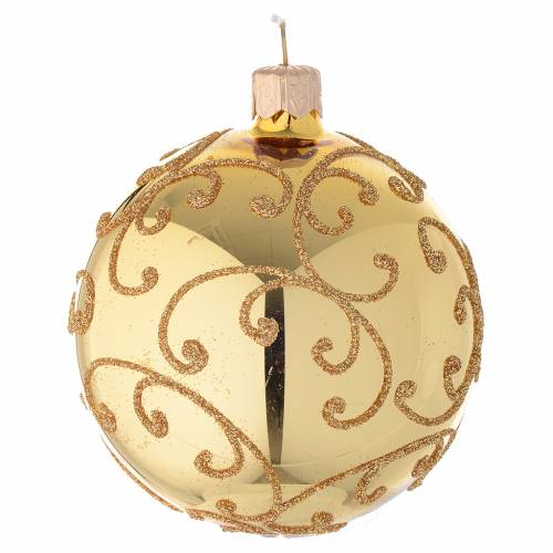 Bauble in gold blown glass with golden motif 80mm s2