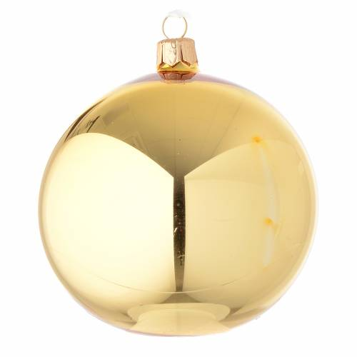 Bauble in gold blown glass with shiny finish 100mm s1