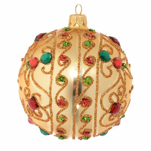 Bauble in gold blown glass with stones 100mm s2