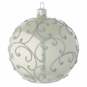 Bauble in pale green blown glass with silver decoration 100mm s1