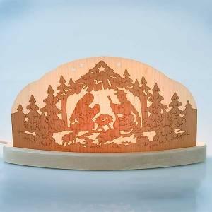 Krippe aus Grödnertal Holz: Beleuchtete Krippe