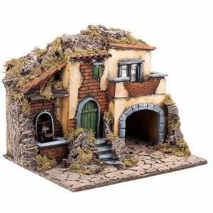 Neapolitanische Krippe: Beleuchteter Dorf für Krippe mit Wassermühle 30X40X35