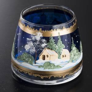 Bicchiere natalizio portacandela vetro paesaggio s2