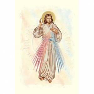 Biglietto d'auguri con pergamena immagine Gesù Misericordioso s1