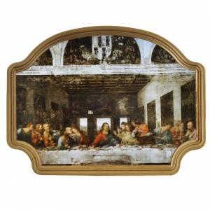 Bilder, Miniaturen, Drucke: Bild Abendmahl mit golden Rahmen, 27x20cm