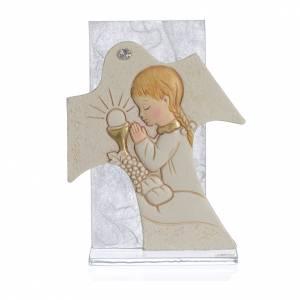Bonbonniere: Bild mit Kreuz 11,5x8cm Erstkommunion Mädchen