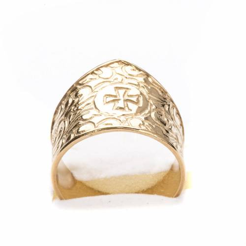 Bishop Ring in gold plated silver 800, cross decoration s5