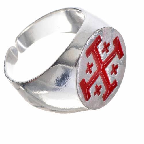 Bishop's ring, 800 silver with Jerusalem cross, red enamel s2