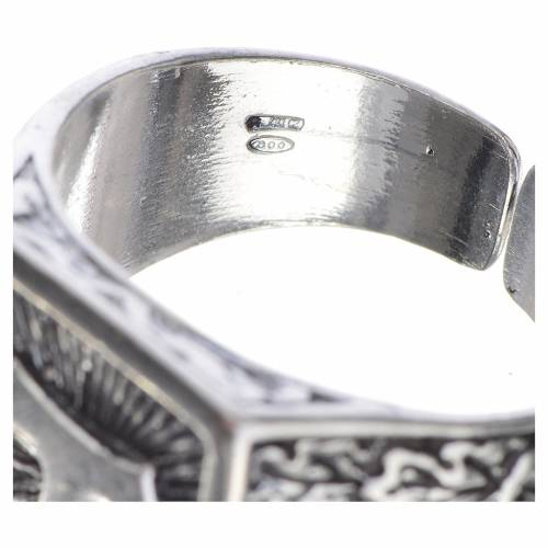 Bishop's ring, burnished 800 silver with Tau cross s4