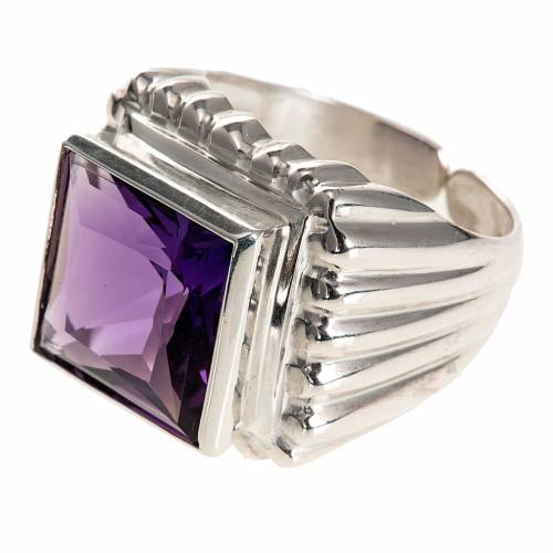 Bishop's ring silver coloured, in 800 silver with amethyst s2