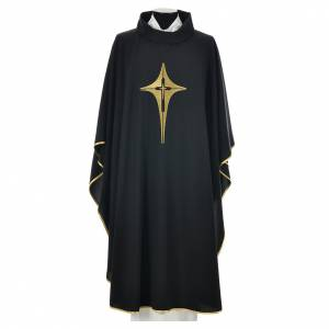 Black chasuble 100% polyester, stylised cross s1