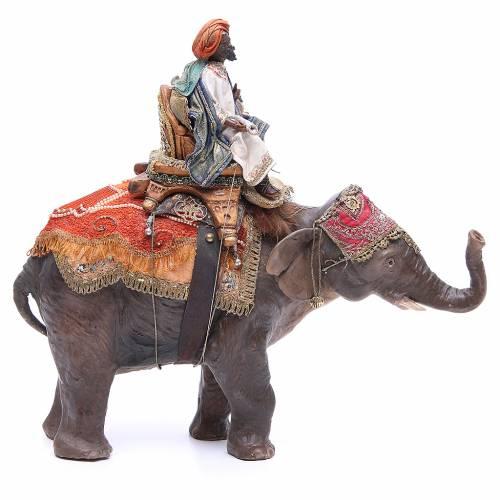 Black Wise Man on elephant, 13cm by Angela Tripi s1