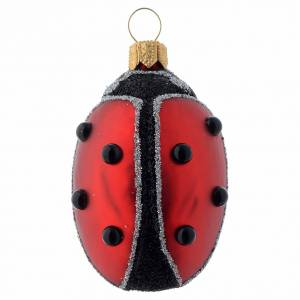 Blown glass ornaments: Blown glass Christmas ornament, ladybug