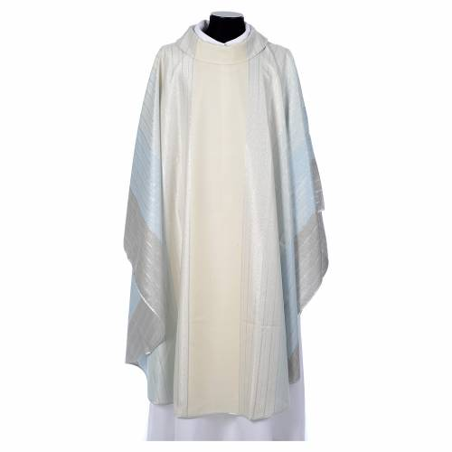 Blue Chasuble in pure Tasmanian wool with double twisted yarn s1