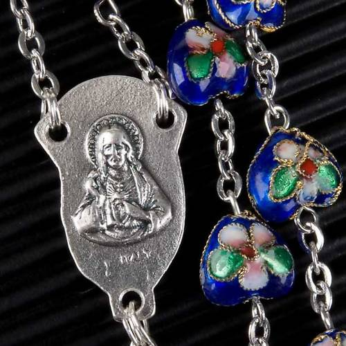 Blue cloisonné rosary with heart shaped beads s3