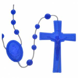 Economical rosaries: Blue pearl effect nylon rosary