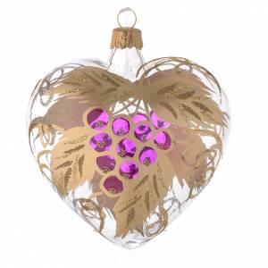 Bola de Navidad corazón de vidrio transparente y decoración con uva 100 mm s2