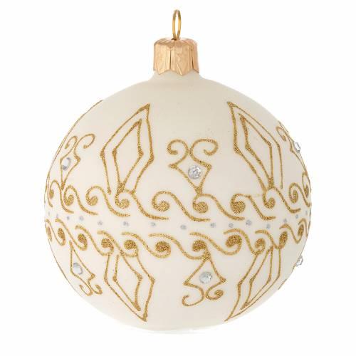 Bola de Navidad de vidrio beige con decoraciones oro 80 mm s2