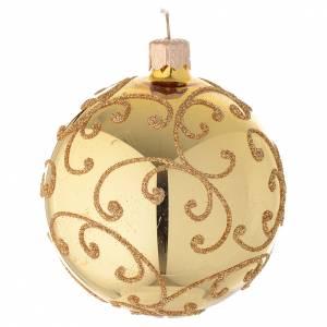 Bola de Navidad de vidrio con decoración arabesca dorada 80 mm s2