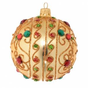 Bola de Navidad de vidrio soplado oro y piedras 100 mm s2