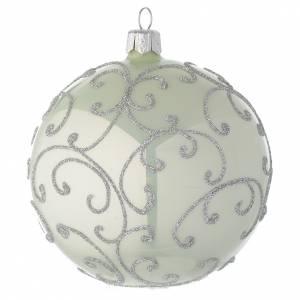 Bolas de Navidad: Bola de Navidad de vidrio soplado verde metalizado y plata 100 mm