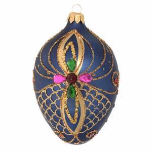 Bola de Navidad ovalada vidrio soplado azul y oro 13 cm s1