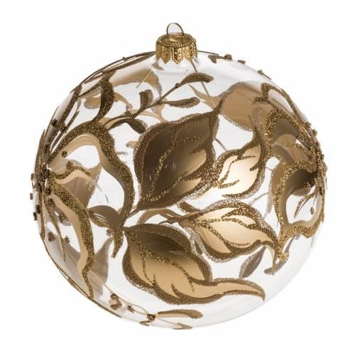 Bola de Navidad vidrio con decoraciones en flores de 15 cm s1
