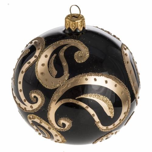 Bola de Navidad vidrio transparente, negro y dorado de 10cm s1