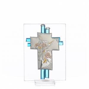 Bonbonnières: Bonbonnière Baptême Ange verre Murano aigue-marine h 8 cm