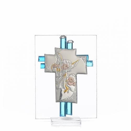 Bonbonnière Baptême Ange verre Murano aigue-marine h 8 cm s1