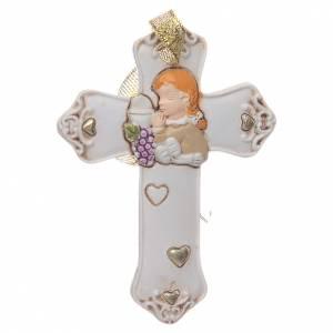 Bonbonnières: Bonbonnière Communion croix résine blanche fille