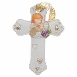 Bonbonnières: Bonbonnière Communion croix résine blanche garçon