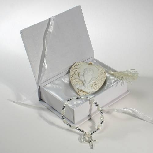 Book box with rosary bracelet and painting Chalice 11x8cm s1