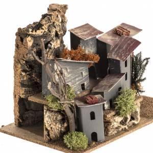 Ambientazioni, botteghe, case, pozzi: Borgo casette cartone ambiente presepe